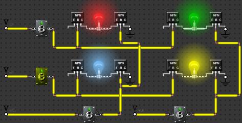 2 Bits RAM Electronics Circuit Using NPN Transistors